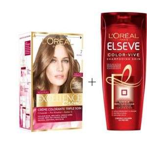 L'OREAL PARIS Lot coloration Excellence 7.0N Blond + Shampoing Color-Vive 250 ml