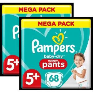 Pampers Baby-Dry Pants Couches-Culottes T5+ - Lot de 2 - 136 Culottes