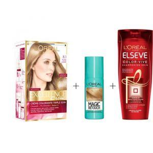 L'OREAL PARIS Lot coloration Excellence 8.1N Blond clair cendré + Magic Retouch 75 ml Blond  + Shampoing Color-Vive 250 ml
