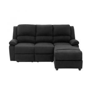 RELAX Canapé de relaxation d'angle droit 3 places - Microfibre noir - Contemporain - L 192 x P 147 cm