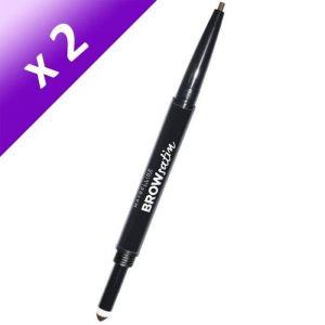 GEMEY MAYBELLINE Crayon à sourcils Duo Brow Satin - Dark Brown (Lot de 2)