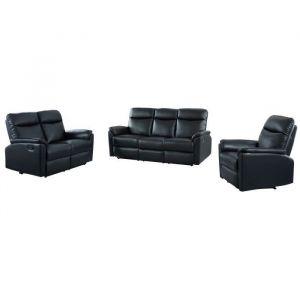 MAX Ensemble canapé de relaxation 3+2 places et fauteuil - Simili PU noir - Contemporain - L195 x P95cm, L141 x P95 cm, L85 x P93 cm