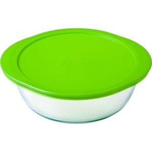 PYREX -  912S955/W146 Lot de 3 plats ronds avec couvercle vert Cook&Store 15cm+20cm+26cm