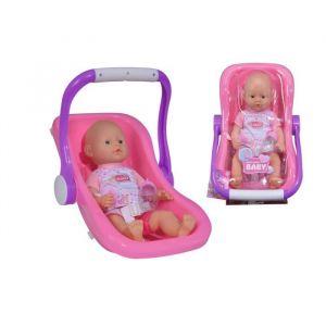 SIMBA New Born Baby Poupon Fonction Pipi + Siège Auto