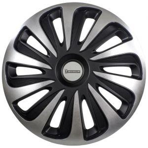 """MICHELIN Enjoliveur 15"""" NVS 3D par 4 en boîte Noir - Lot de 4 enjoliveurs pour tout type de roue 15''. Matière ABS  bicolore."""