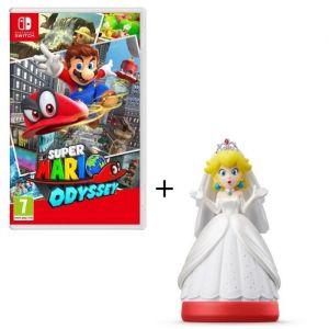 Super Mario Odyssey Jeu Switch + Figurine amiibo Peach en tenue de mariage