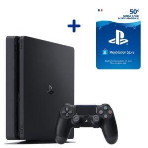 Console PS4 Slim 500Go Noire/Jet Black + 50€ Fonds pour porte-monnaie virtuel PlayStation Store - Code de Téléchargement pour PS4