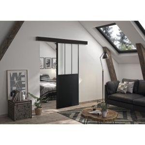 OPTIMUM - Kit porte coulissante + rail + bandeau Atelier - H 204 x L 93 x P 4 cm - Noir verre dépoli