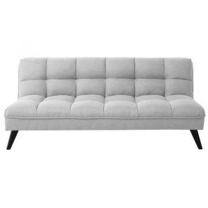 FLUFFY Banquette clic clac 3 places - Tissu gris clair - Style contemporain - L 184 x P 82 cm