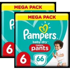 Pampers Baby-Dry Pants Couches-Culottes T6 - Lot de 2 - 132 Culottes