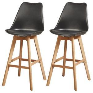 BJORN Lot de 2 tabourets de bar pieds en bois hêtre massif - Revêtement simili PU noir - Scandinave - Assise H 75cm