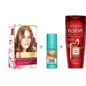 L'OREAL PARIS Lot coloration Excellence 7.0N Blond + Magic Retouch 75 ml Blond + Shampoing Color-Vive 250 ml