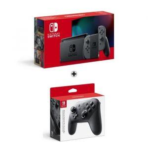 Console Nintendo Switch avec paire de Joy-Con gris + Manette Pro Controller