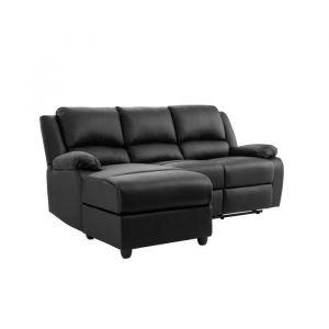 RELAX Canapé de relaxation d'angle gauche 3 places - Simili noir - Contemporain - L 192 x P 147 cm