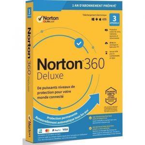 Antivirus NORTON 360 Deluxe - 25Go - 1 Utilisateur - 3 Appareils - 12 Mois (via clé d'activation envoyée sur votre boite mail)