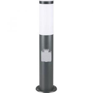Lampadaire Dahlia 48 cm Luminaire extérieur E27 avec prise - Acier inoxydable - Anthracite