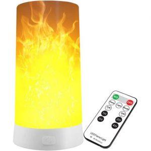 LED Flamme Lumière, Intérieur Extérieur LED Effet Flamme Lumière avec Télécommande Rechargeable Lampe Lampe Lampe