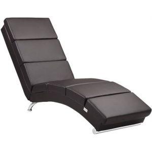 Méridienne « London » Chaise de Relaxation Chaise Longue d'intérieur ergonomique Fauteuil rembourré Pieds chromés Brun foncé