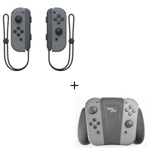 Manettes Joy-Cons Grises  + Support de recharge pour Joycon Console Switch