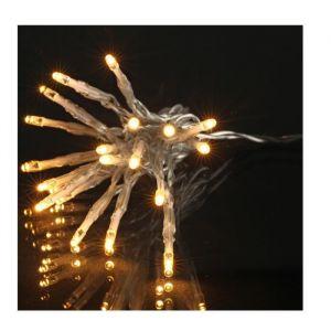 Guirlande de Noël LED extérieure filaire plastique - 5 mm - Blanc chaud - Electrique