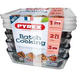 PYREX Set de 4 plats en verre 1,5L avec couvercle