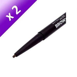 GEMEY MAYBELLINE Eye Studio Crayon Sourcils Brow Satin Duo Crayon + Poudre - 04 Med (Lot de 2)