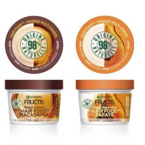 GARNIER Fructis Masque Lissant Hair Food Macadamia + Masque Réparateur Papaye - 390 ml