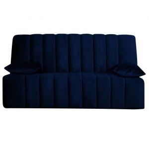 OPS 100% FRANCAIS - RONDA Banquette Clic clac - Velours bleu - Couchage quotidien - L190 x P95 x H98 cm
