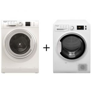 HOTPOINT NM10823WFR - Lave-linge frontal - 8 kg - A+++ - Blanc + HOTPOINT - NTM1182SKFR - Sèche linge - 8 Kg - A++ - Blanc