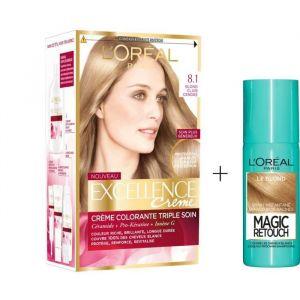 L'OREAL PARIS Lot coloration Excellence 8.1N Blond clair cendré + Spray Magic Retouch 75 ml Blond