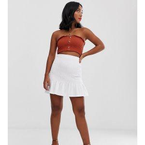 ASOS DESIGN Petite - Mini-jupe à taille froncée-Blanc