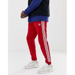 adidas Originals - DV1534 - Pantalon de jogging ajusté à 3 bandes resserré aux chevilles - Rouge