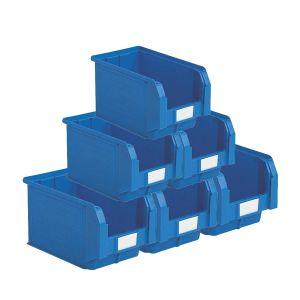 Bacs plastiques à bec 12.5 litres bleu (Lot de 15)
