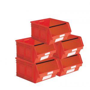 Carton 5 bacs à bec plastique 63 litres rouge