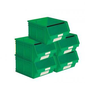 Carton 5 bacs à bec en plastique 63 litres vert