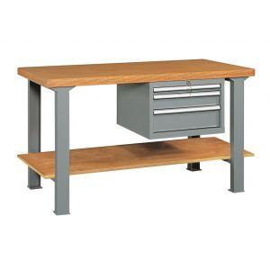 Etabli avec 3 tiroirs et plateau bois longueur 2 mètres