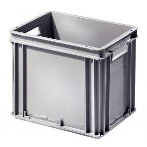 Bac plastique coloris gris 30 litres avec poignées