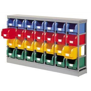Rack rangement 28 bacs plastique 12.5 litres