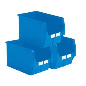 Carton 5 bacs plastiques à bec 42 litres bleu
