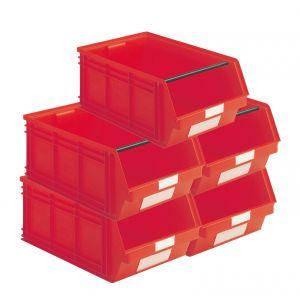 Carton 5 bacs plastiques à bec 88 litres rouge