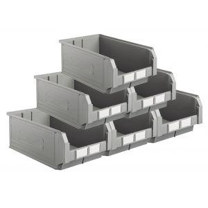 Carton 10 bacs à bec coloris gris volume 28 litres