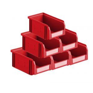 Lot de 50 bacs à bec plastiques 1 litre rouge