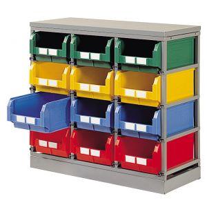 Rack rangement pour 12 bacs plastique 28 litres