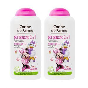 Lot de 2 Gels Douche Disney Minnie Extra Doux 2 en 1 Corps & Cheveux 250ml