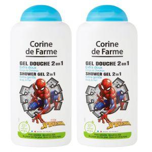 Lot de 2 Gels Douche Disney Spiderman Extra Doux 2 en 1 Corps & Cheveux 250ml