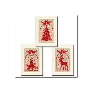 Cloches de Noël, lot de 3 cartes de voeux à broder
