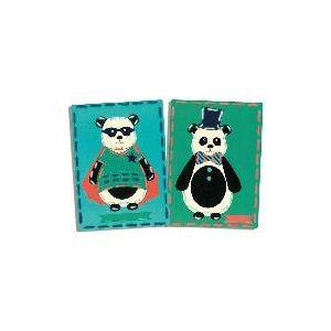 Pandas de cirque, lot de 2 cartes à broder