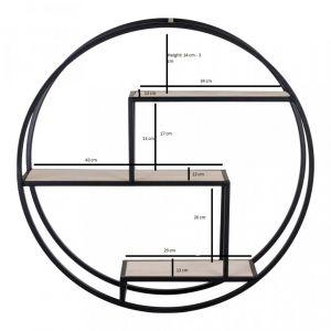 Etagère impression cercle en bois et acier noir ROTTERDAM