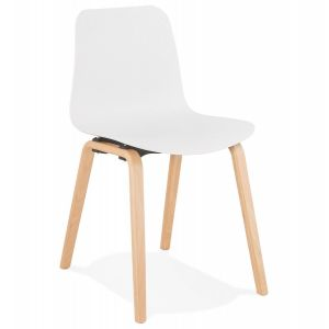Chaise blanche pieds bois comparer 174 offres for Chaise zons