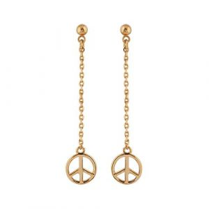 Boucles d'oreilles Plaqué Or Pendantes Chainette Peace and Love